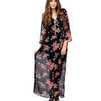 1970s Style Black & Floral Long Sleeve Maxi Dress
