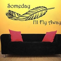 Someday I'll Fly Away Wall Decals Quote Vinyl Sticker Amulets Feather Boho Bedding Dream Catcher Decal Home Decor Bedroom Bohemian Dreamcatcher Stiskers Interior Design Art Mural MS765