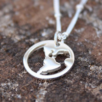 Silver World Charm Necklace - Sterling Silver . Jewelry . World Map . Globe . Hand-Stamped Gift Box Included