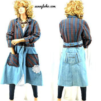 Upcycled denim duster coat S / M boho restyled long jean coat plaid denim long jacket shabby chic oversized denim coat SunnyBohoVintage