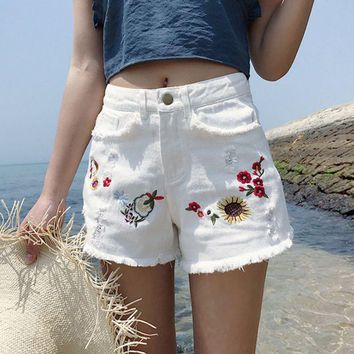 ESBONX5H High Waist Embroidered Denim Shorts