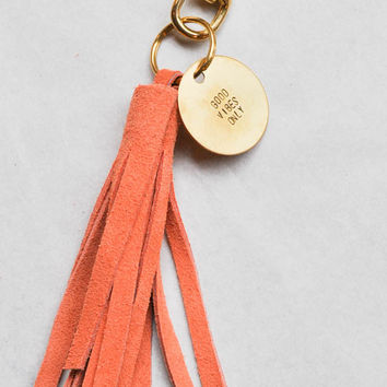 Kendra Beshk Coin/Tassel Keychain - Good Vibes Only/Peach