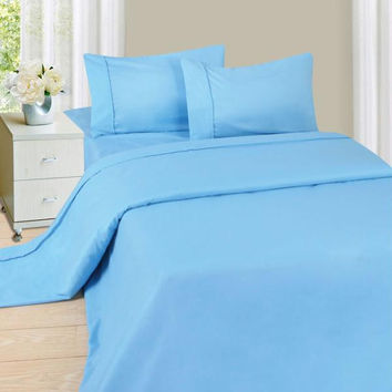 Lavish Home Series 1200 3 Piece Twin Sheet Set - Blue