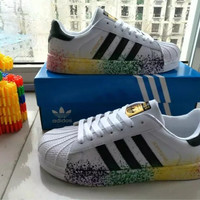 """""""Adidas Superstar"""" Fashion Casual Ink Jet Unisex Small White Shoes Couple Shell Head Plate Shoes"""