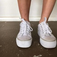 White Platform Lace-Up Sneakers