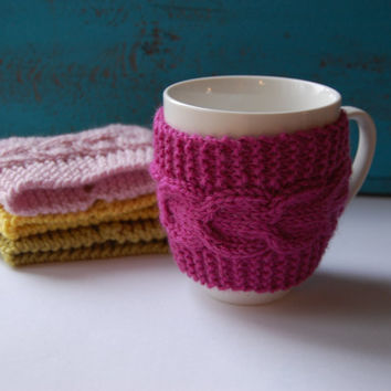 Shop Knit Coffee Cup Sleeve on Wanelo