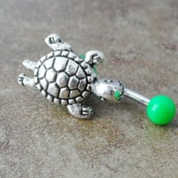Green Turtle Belly Button Ring Jewelry by CuteBellyRings on Etsy