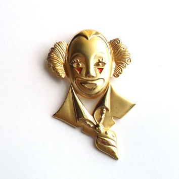 Vintage Clown Brooch Creepy Enamel Glitter Gold Tone Red Blood Pierrot Bizarre Uncomfortable Odd Awkward Circus Yikes