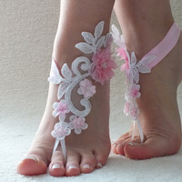 Free Ship ivory or white pink floral  barefoot sanddals, flexible ankle sandals, Barefoot Sandals, Beach wedding barefoot sandals