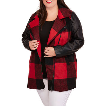 Plus-Size Buffalo Plaid Faux Wool Coat with Faux Leather Sleeves