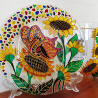 Sunflower & Butterfly set of 2 Decorative plate and photo frame Glass painting Glass art