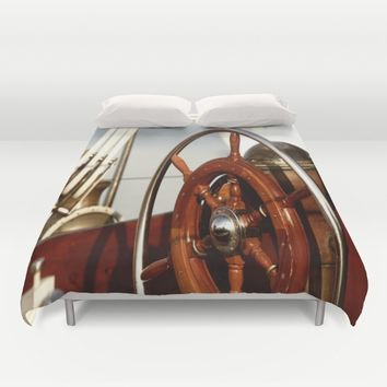 Staying on course at sea Duvet Cover by Tanja Riedel