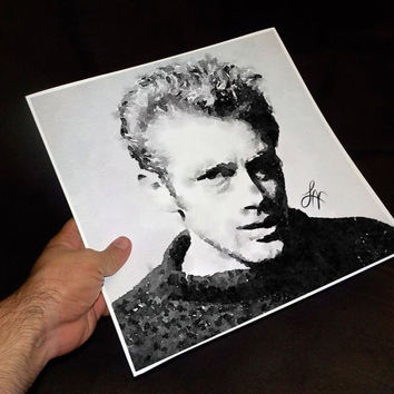 "James Dean Watercolor Print Wall Art Home Wall 12"" x 12"" inch Marilyn Monroe Poster Celebrity Portraits Art by MrNobody (Luis Villeda)"