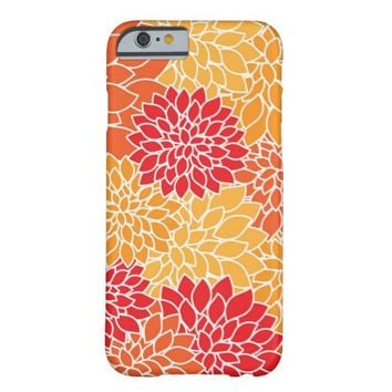 Cute Vintage Dahlia Flower Pattern Girly Floral Barely There iPhone 6 Case