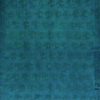 7x12 Ft (210x370 cm) Teal Blue Color OVERDYED Vintage Turkish Rug, Handmade Carpet, wool and cotton blend, A208