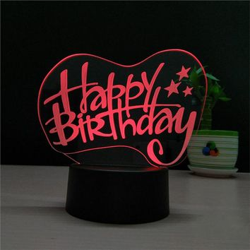 3D Heart Shapes Lamp Multicolor LED Lights Touch USB Remote Control Night Light Birthday