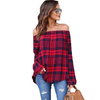 CREYLD1 2018 Spring Autumn Women Casual Plaid Off Shoulder Blouse Shirts Fashion Button Red Classical Long Sleeve Shirts Tops Blouse