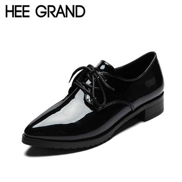 HEE GRAND Patent Leather Women Oxfords Shoes For Spring Pointed Toe Platform Low Heels Pumps Brogue Shoes Woman XWD2673