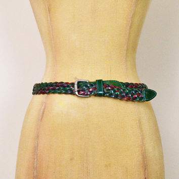 Vintage 70s 80s Green Belt Green Leather Belt Woven Leather Braided Leather Skinny Belt Cinch Waist Belt Boho Hippie Hippy Women S Small