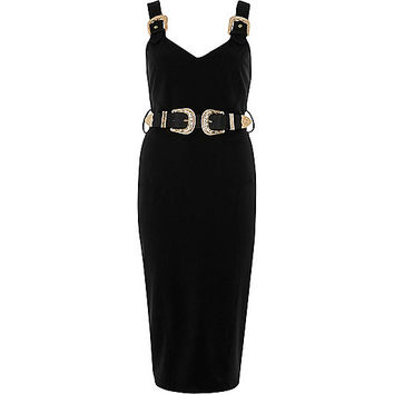 Black buckle bodycon dress - bodycon dresses - dresses - women