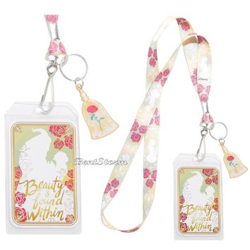 Licensed cool DISNEY Beauty & Beast Belle Enchanted Rose LANYARD ID PIN CARD HOLDER Loungefly