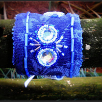 Blue fabric and beaded arm cuff  statement accessory