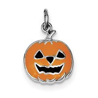 Sterling Silver Orange Jack-A-Lantern Pumpkin Halloween Charm