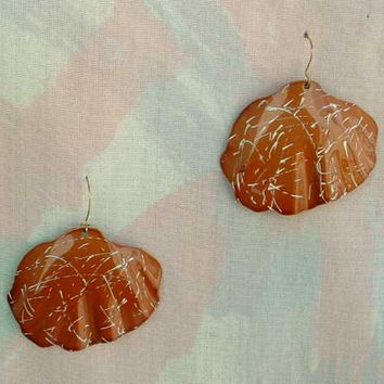 Brown Clam Shell Enameled Dangle Earrings Copper Ear Wires Vintage Jewelry