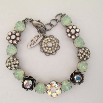 Swarovski crystal FLOWER BRACELET. mint green opals, flower embellished, antique silver.
