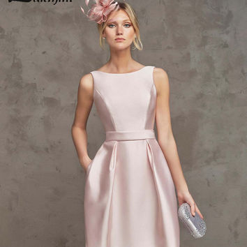 Elegant A-line Mini Blush Cocktail Party Dresses Satin Sexy Plunging Back Short Prom Gowns 2016