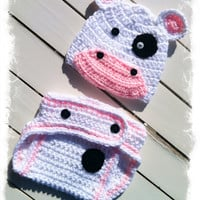Baby Girls Crochet Cow Beanie and Diaper Cover-Newborn Photo Prop-Baby Girls Crochet Cow Set-New Baby Gift