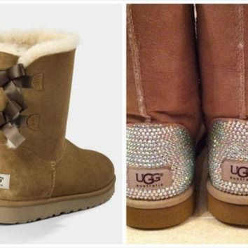 ONETOW Chestnut Ugg Bailey Bow Boots with Swarovski Crystal Embellishment - Bling Pink and Te