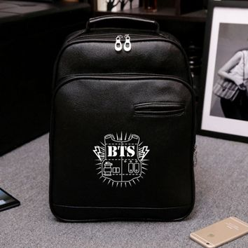 2017 korean leather backpack kpop mochila bts rugzak school bag boys laptop rucksack cute girls backpacks womens shoulder bags