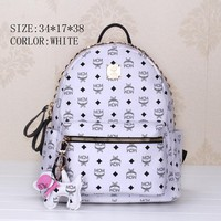 MCM Fashion Sport Laptop Bag Shoulder School Bag Backpack White G-YJBD-2H