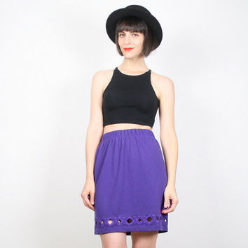 Vintage Purple Skirt Mini Skirt Tulip Skirt CUT OUT Detail Cut Outs Dress Skirt 1980s 80s New Wave Skirt Mod Southwestern S Small M Medium