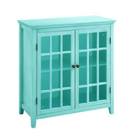 Linon Largo Antique Turquoise Double Door Cabinet