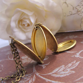 Vintage Inspired In The Gardens Lovely Folding Gold Brass Photo Locket Long Necklace. Mother's Day