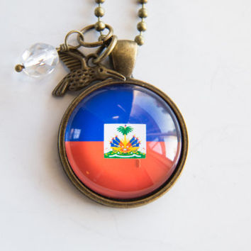 Flag of Haiti Pendant Necklace - Adoption Jewelry - Patriotic Jewelry - Custom Jewelry - Travel Necklace Missions Jewelry Hispaniola Creole