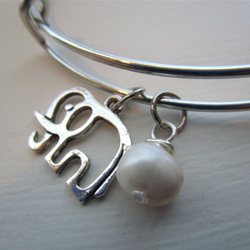 Elephant Adjustable Bangle Bracelet - Silver with Freshwater Pearl