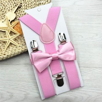 Adjustable and Elasticated Colors Kids Suspenders With Bowtie Bow Tie