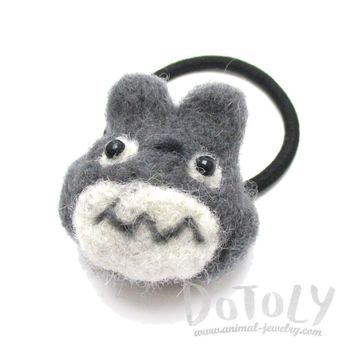 Handmade Needle Felted Wool Totoro Shaped Hair Tie