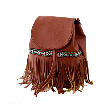 Women's Bohemian PU Fringe Backpack Shoulders Bag