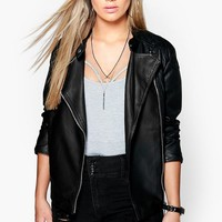 Plus Eliza Quilted Faux Leather Biker Jacket | Boohoo