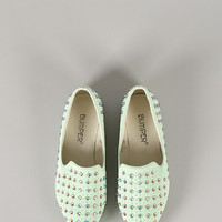 Bumper Sylvia-01 Jeweled Embellished Pointy Toe Loafer Flat