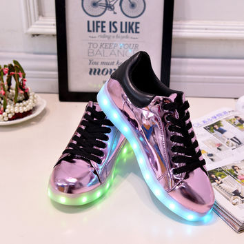 7 Colour Led Light Shoes Women Casual 2016 Spring Luminous Tenis Con Luz Schoenen Met Licht Glowing Light Up Purple Pu Usb Shoe