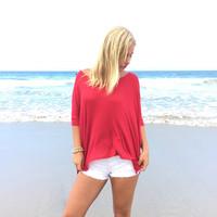 Freedom Jersey Short Sleeve Blouse In Tango Red