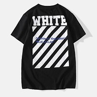 OFF-WHITE Popular Women Men Personality Print Pure Cotton T-Shirt Top Black