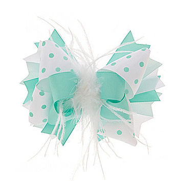 Copper Key Marabou Bow - Teal