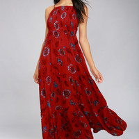 Free People Garden Party Red Floral Print Maxi Dress