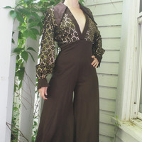 Funky Sequin 70s Jumpsuit Disco Fever Palazzo Brown Vintage S 9